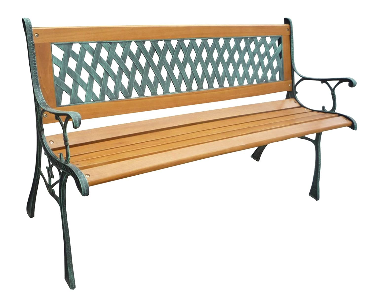 WestWood 3 Seater Wooden Slat Garden Bench Seat Lattice Style Cast Iron Legs KMS