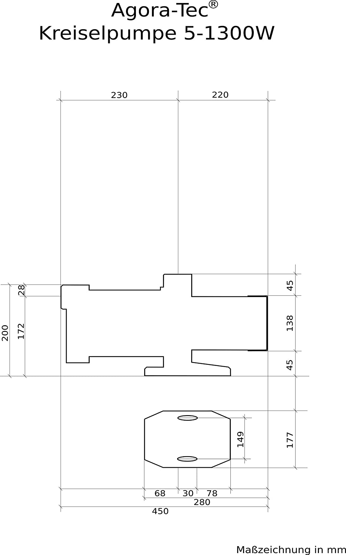 Agora-Tec® AT-Kreiselpumpe-5-1300W, 5 stufige Kreiselpumpe mit max ...