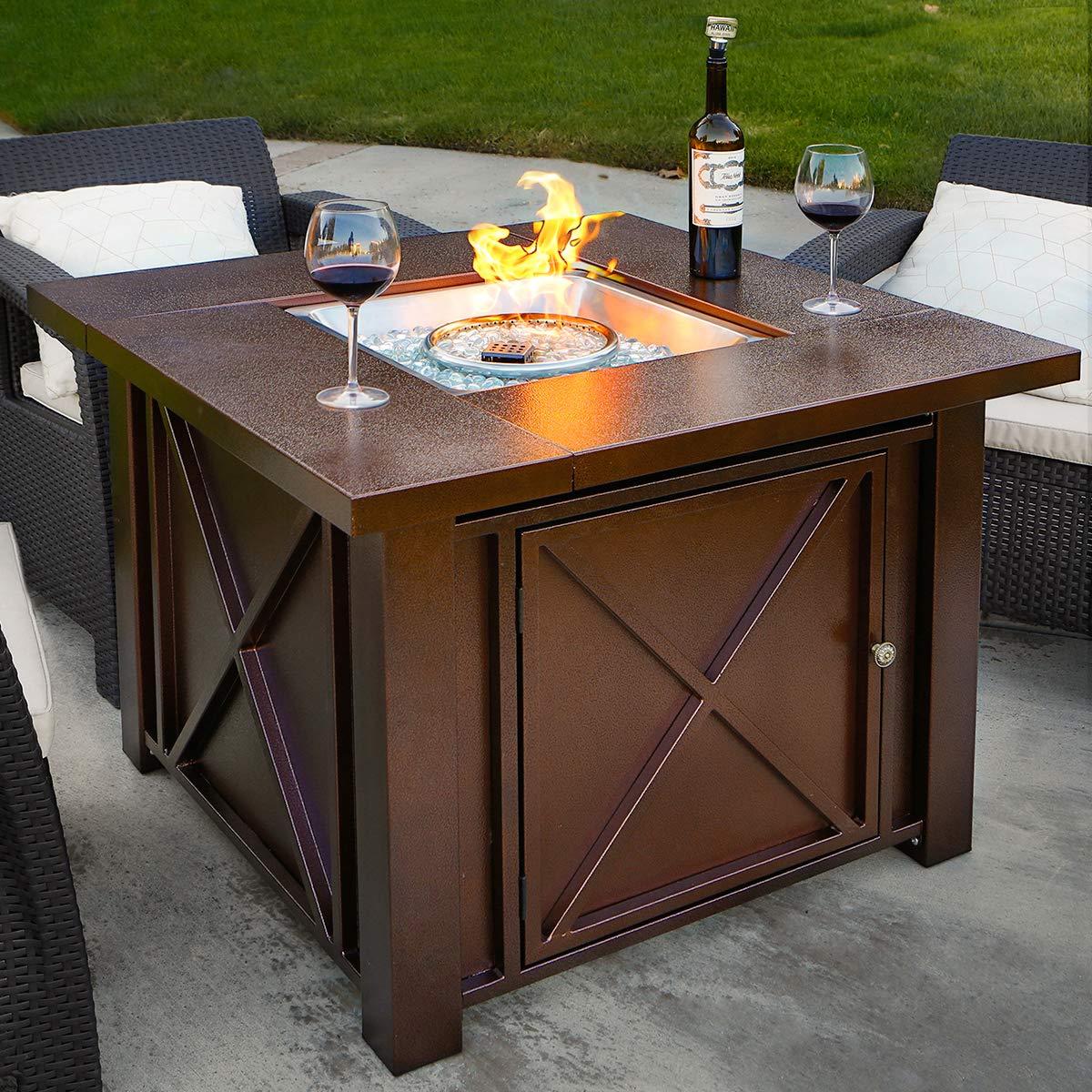 Amazon com xtremepowerus out door patio heaters lpg propane fire pit table hammered bronze steel finish deluxe garden outdoor