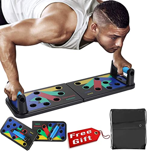 Newest Push Up Board Pushup Stands Color-Coded Push Up Training System Fitness Exercise Workout Collapsible Portable with Workout Schedule Carrying Case Non-Slip Stickers 11-in-1