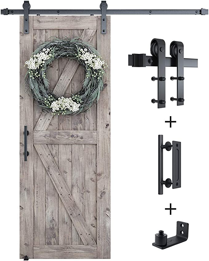 Easy to Install Super Smoothly and Quietly Include 5ft Single Track Kit /& Pull Handle Set /& Floor Guide J Shape Fit 30 Wide Door Panel SMARTSTANDARD 5FT Sliding Barn Door Hardware Whole Kit