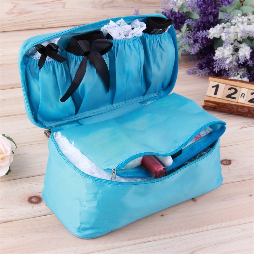 GGkdalio Portable Protect Bra Underwear Lingerie Case Travel Organizer Bag Waterproof, Sky Blue