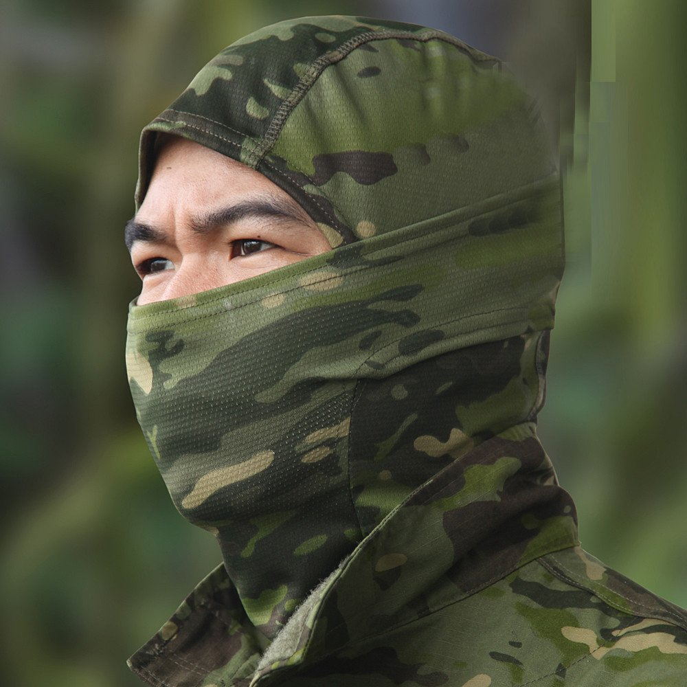 Lljin Camouflage Army Cycling Motorcycle Cap Balaclava Hats Full Face Mask Headgear (C)