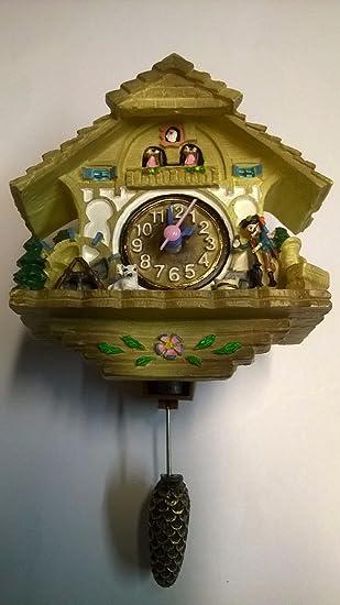 Miniatur reloj de cuco | bosque negro estilo | Auto Swinging péndulo: Amazon.es: Hogar
