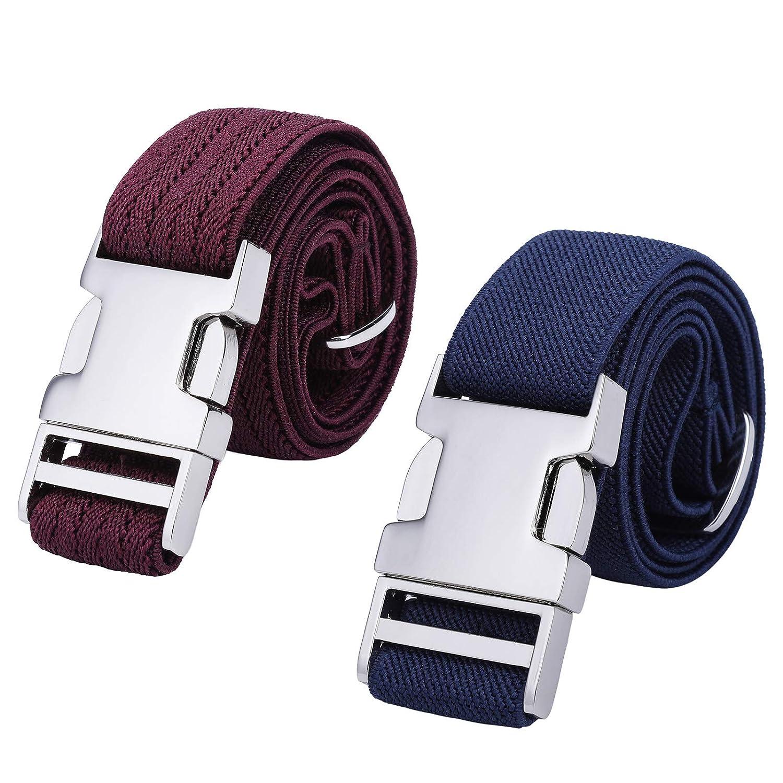Black//Navy Blue Boys Adjustable Stretch Belt for Kids 2PCS Zinc Alloy Childrens With Easy Clasp Belt for Toddlers Boys Girls