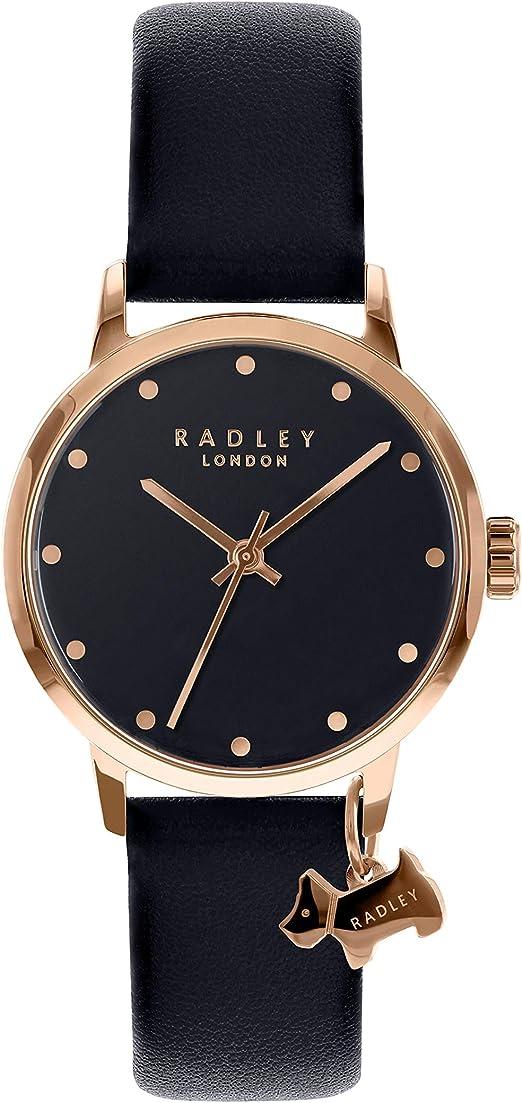 Radley London Montre pour Femme avec boîtier en Acier Inoxydable Or Rose, Cadran Noir Brillant et Bracelet en Cuir Noir véritable