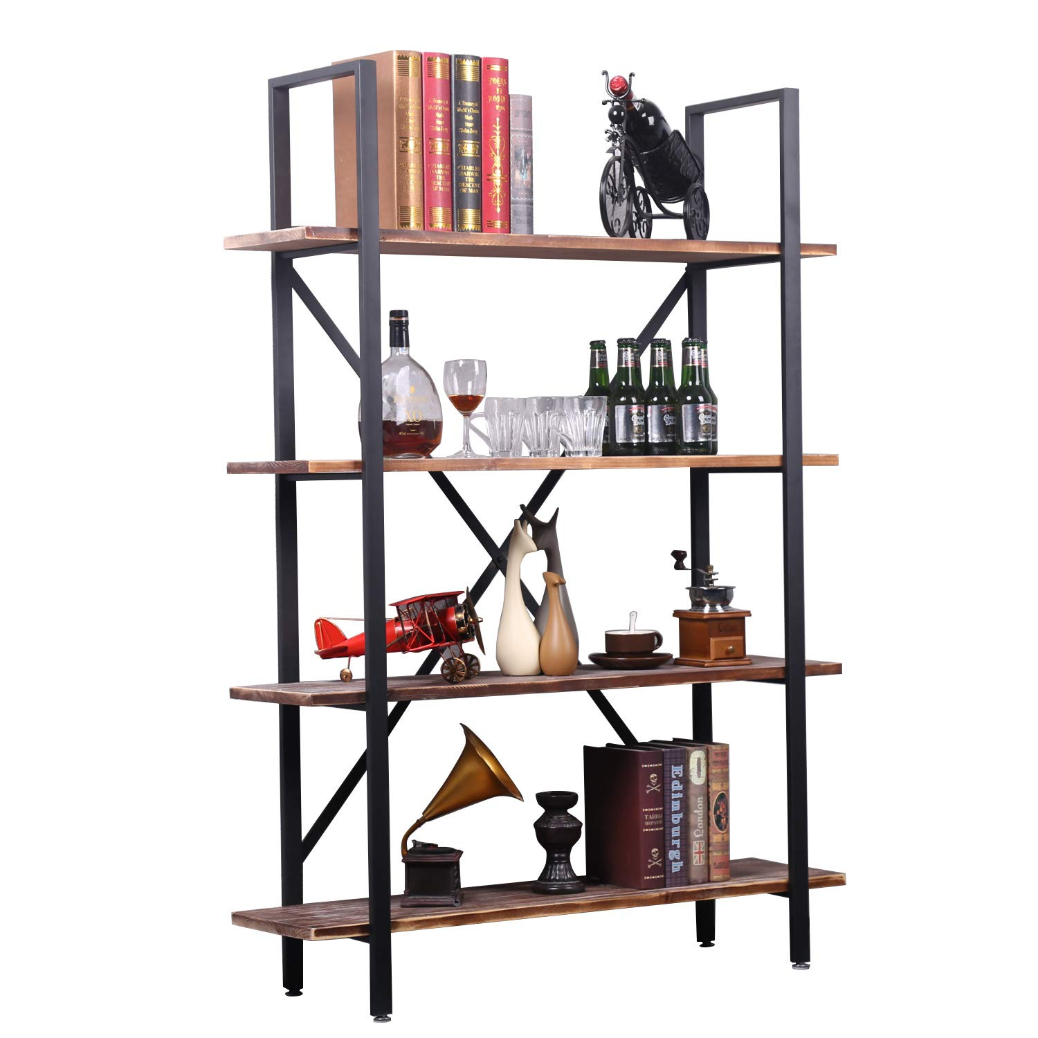 4-Shelf Modern Industrial Style Bookcase, Vintage Solid Wood and Black Metal Frame, Rustic Book Shelf, Storage Display Shelves, Open Etagere Bookcase,Free Standing Storage Shelf Units