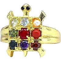 PANDIT NM SHRIMALI Navratna/Navratan Tortoise Ring for Women and Men Navgrah Turtle Ring for Fashion Jewellery Multicolour Brass Kachua