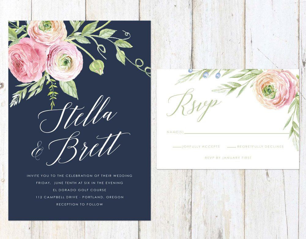 Navy Blush and Rose Wedding Invitation, Floral Wedding Invitation, Rose and Peach Invitation