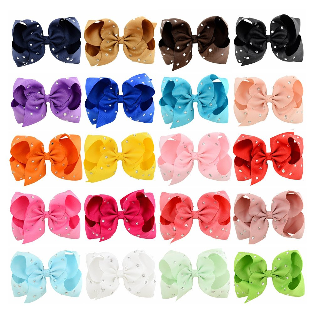 20pcs 6'' Sparkling Grosgrain Boutique Ribbon Hair Bows Clips Baby Girl Clips for Girls Toddlers Infants Teens Kids Hair Accessories by ALinmo