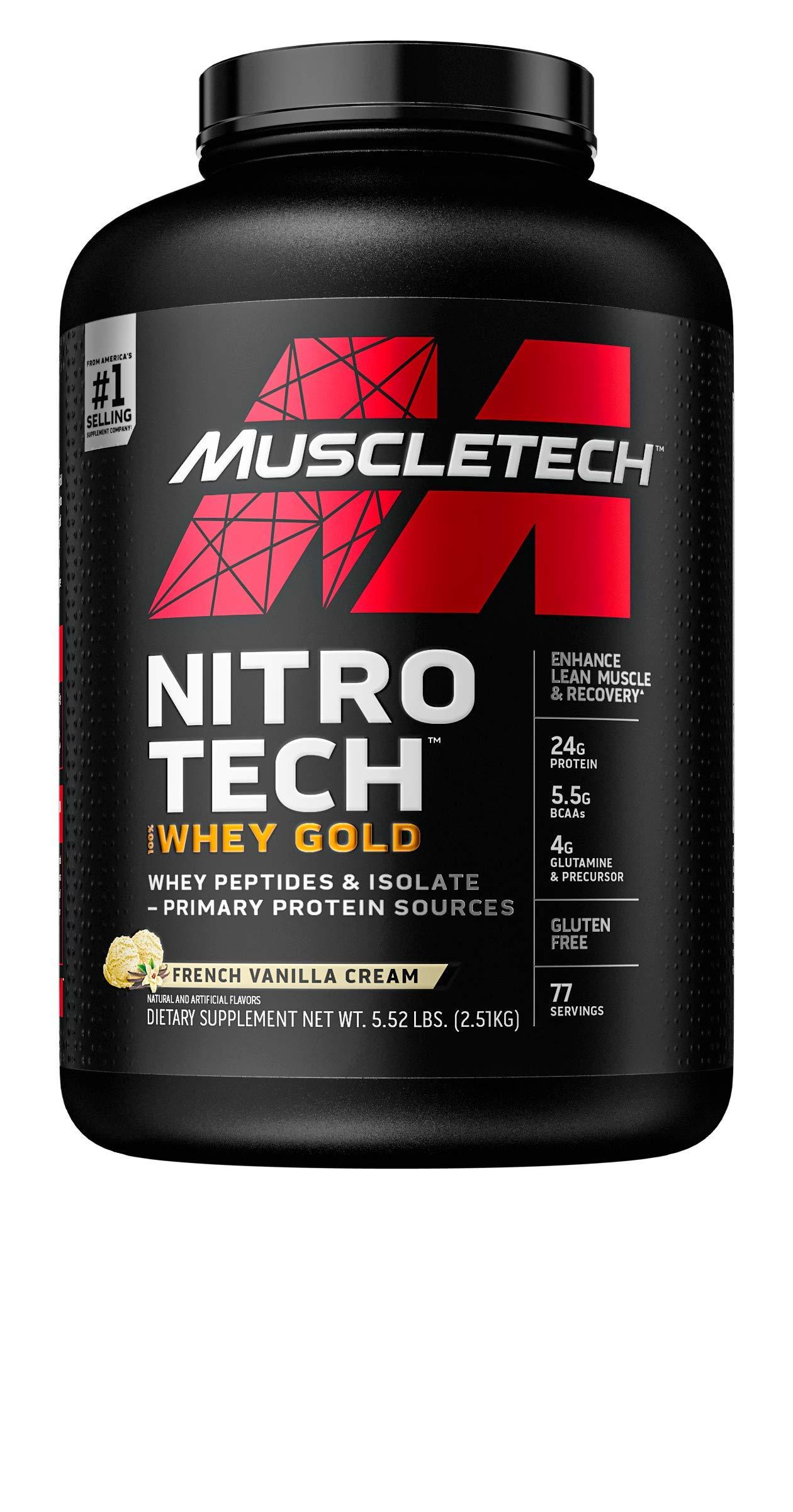 Whey Protein Powder | MuscleTech Nitro-Tech Whey Gold Protein Powder | Whey Protein Isolate Smoothie Mix | Protein Powder for Women & Men | Vanilla Protein Powder, 5.5 lbs (77 Serv)-package varies