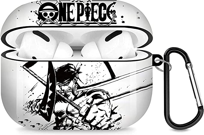 Anime AirPods Pro Case, Roronoa Zoro AirPods Case Cover Compatible with Apple AirPods 3rd, Full Protective Durable Shockproof Drop Proof with Key Chain Compatible-02