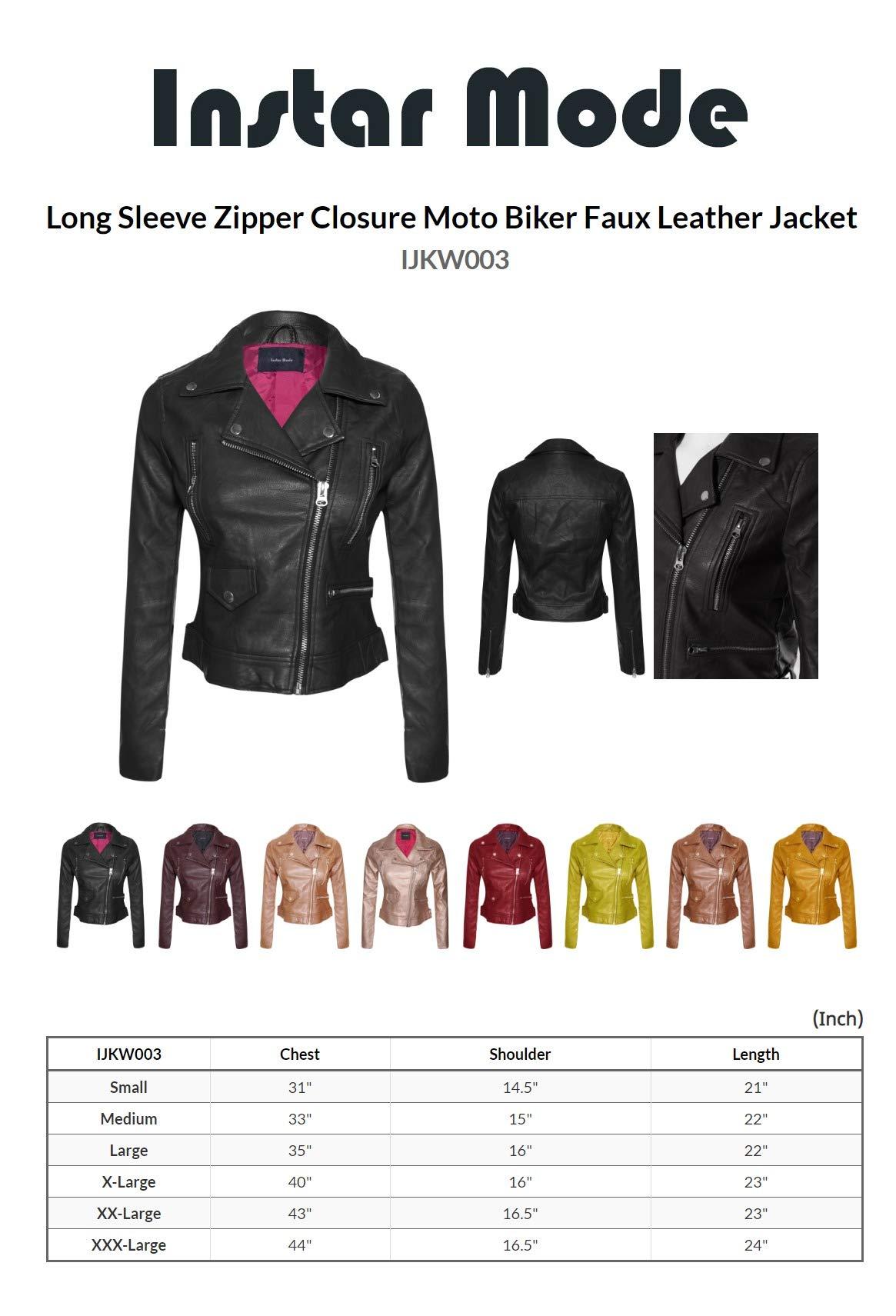 7dd25a2b1ff Instar Mode Women s Long Sleeve Zipper Closure Moto Biker Faux Leather Suede  Jacket