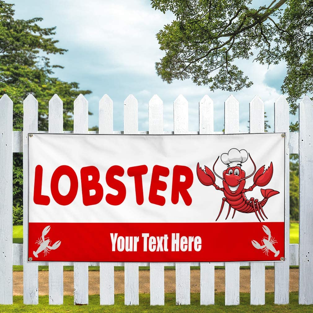 Custom Industrial Vinyl Banner Multiple Sizes Lobster Sea /& Ocean Life Personalized Text Animals Lobsters Outdoor Weatherproof Yard Signs Red 10 Grommets 56x140Inches