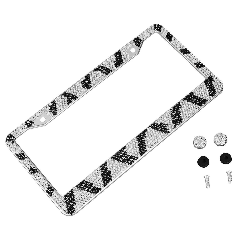hensonata Diamant Nummernschild Rahmen Zebra Schwarz Weiß KFZ ...