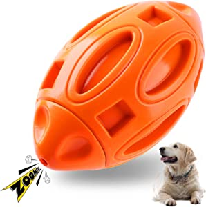 Durable Dog Squeaky Toys for Aggressive Chewers Almost Indestructible, Apasiri Dog Squeaking Interactive Toys Tough Dog Chew Toys Ball for Medium and Large Breed, Natural Rubber Pet Toys Red