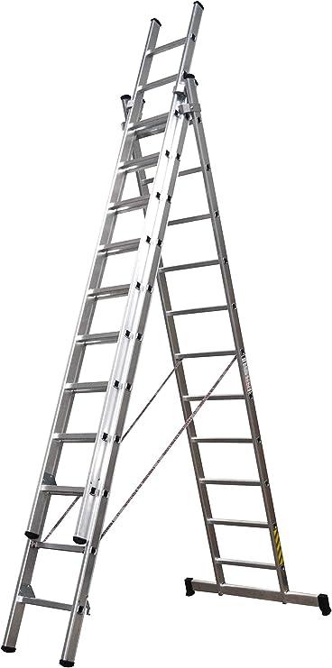 Homelux 825031 Escalera Aluminio Triple, 3.5 + 3.5 + 3.5 m, 3 x 13 Peldaños, 22.2 kg: Amazon.es: Jardín