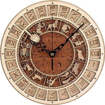 Wczzh Venetie Astronomische Houten Klok Woonkamer Muur Klok Quartz Klok Twaalf Constellaties Grote Wandkaarten Mute Amazon Nl