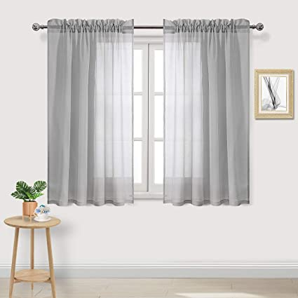DWCN Sheer Curtains Grey Faux Linen Rod Pocket Kitchen Curtains 52 x 45  inches Long Set of 2 Panels,Voile Sheer Living Room Curtains