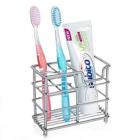 HBlife Acero inoxidable portacepillos de dientes soporte para cepillos de dientes pasta de dientes soporte organizador de baño de metal