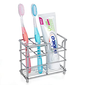 HBlife Acero inoxidable portacepillos de dientes soporte para cepillos de dientes pasta de dientes soporte organizador de baño de metal: Amazon.es: Hogar
