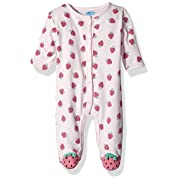 Bon Bebe Baby Girls' 1 Pc Footed Coverall with Fold Back Mitten Covers, Sweet Strawberries, 3-6 Months