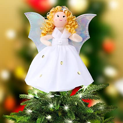 Top Regali Di Natale.Ourwarm Angel Christmas Tree Topper Argento Ali Tree Top Christmas Table Top Decorazioni Regali Di Natale 18cm Bianco