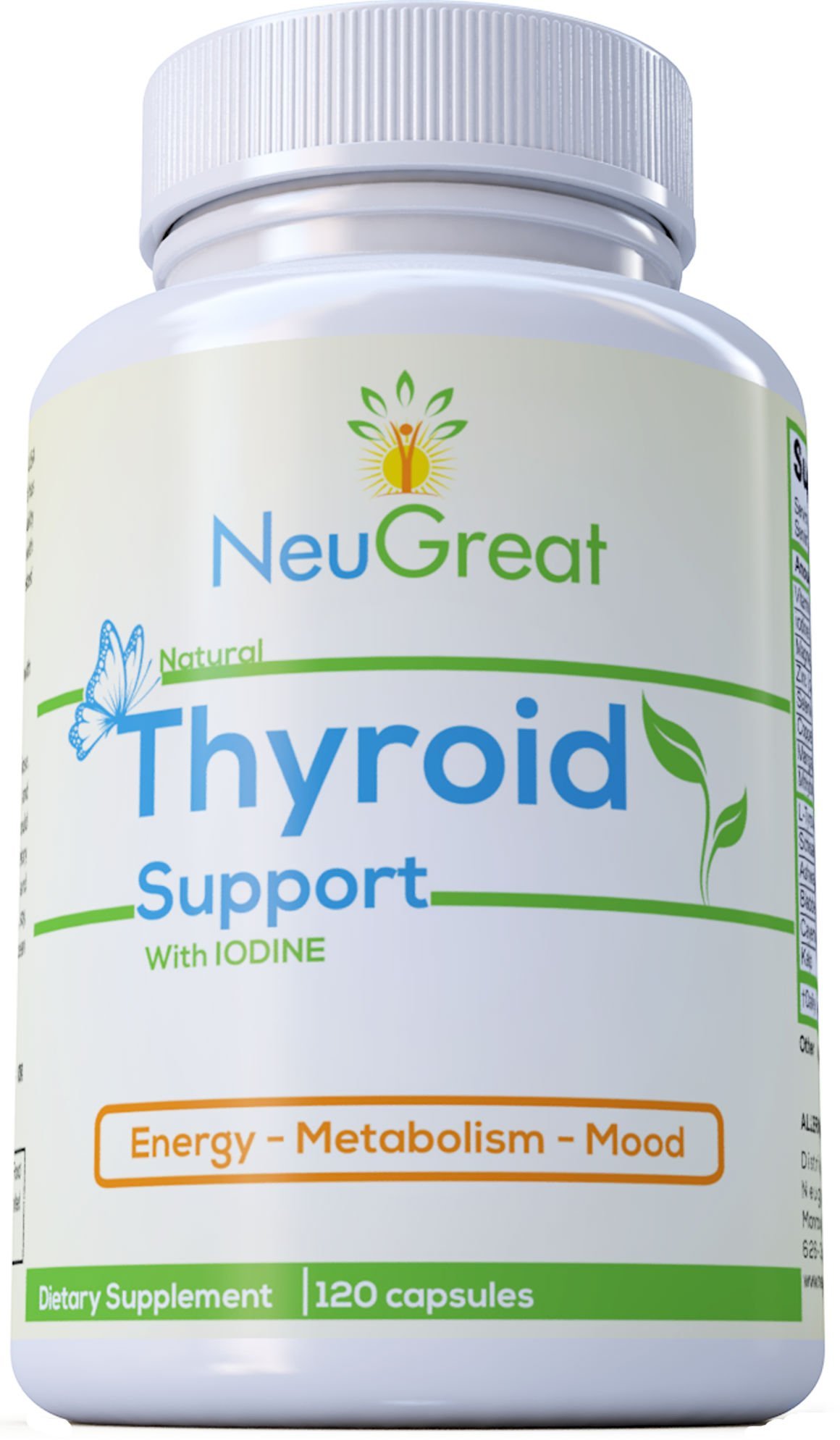 Thyroid Support Supplement with Iodine 120 Capsules, 100% MONEY BACK GUARANTEE, Vitamin B12, Zinc, Ashwagandha - Energy, Metabolism, Mood & Weight loss Formula, MADE IN USA by Neugreat