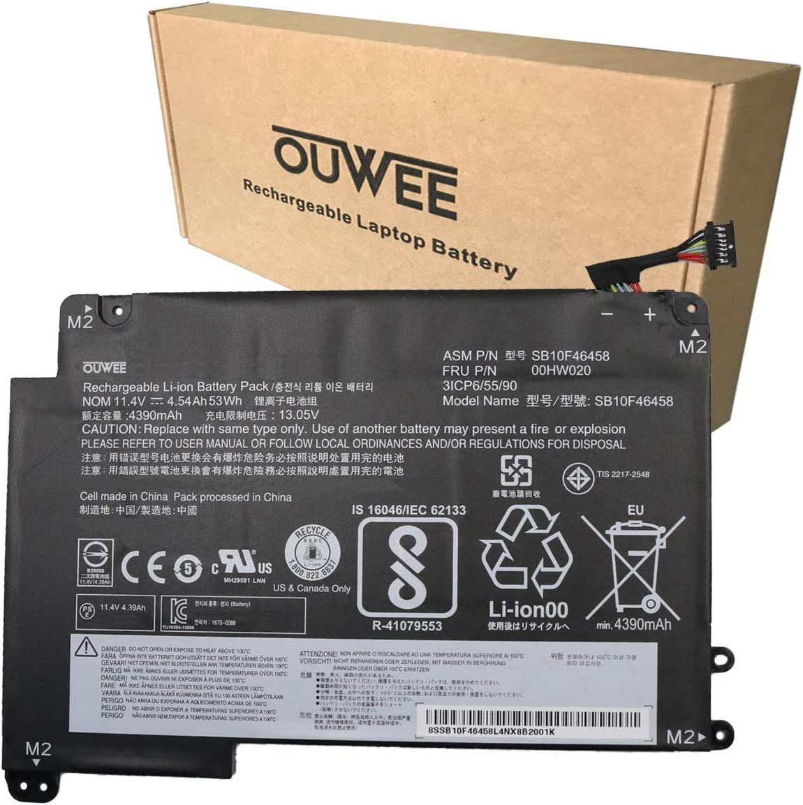 OUWEE 00HW020 Laptop Battery Compatible with Lenovo ThinkPad Yoga 460 P40 Yoga Series Notebook 00HW021 SB10F46458 SB10F46459 11.4V 53Wh 4540mAh 3-Cell