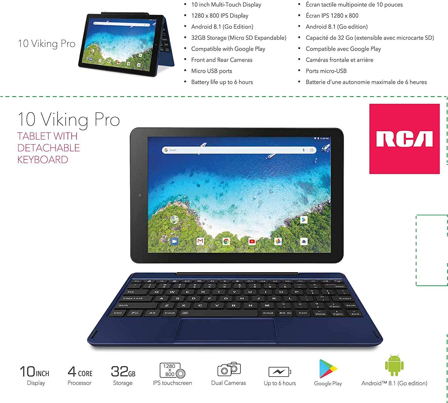Amazon Com Rca Viking Pro 10 2 In 1 Tablet 32gb Quad Core Blue Laptop Computer With Touchscreen And Detachable Keyboard Google Android 6 0 Computers Accessories