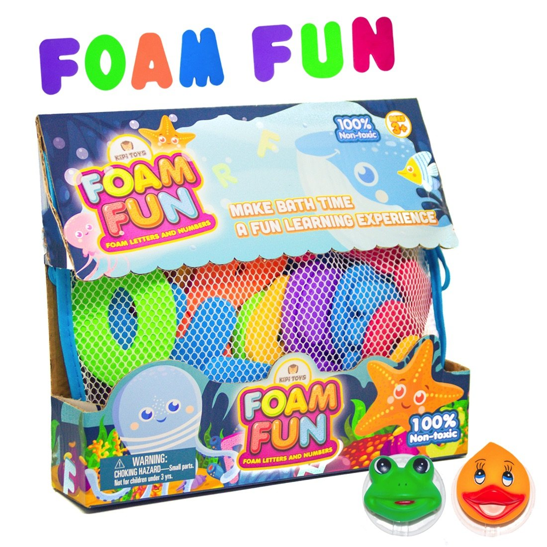 Foam Fun Alphabet Letters and Numbers For Bathtub Educational Organizer Storage Container Water Colorful Pastel Mesh Net Tub Floating Toy 36 PCS ABC For Kids Children Boys Girls Big & Beautiful