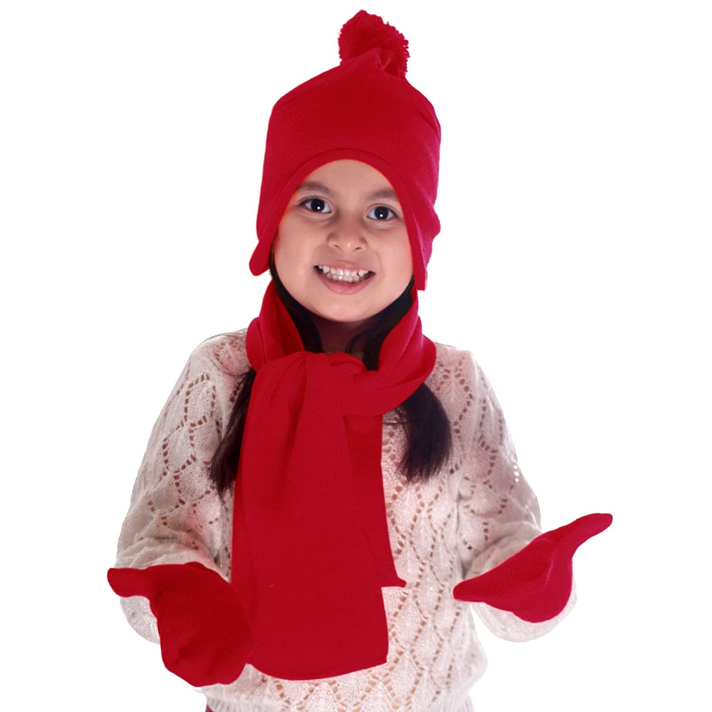 Simplicity Unisex Kid's Winter Knit Fleece Hat, Scarf, and Glove Set Black 88-DILTFU-5000-BLK