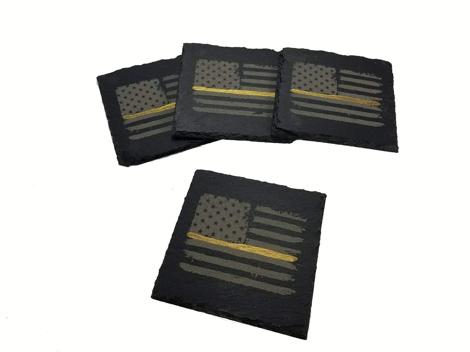 Dispatcher Thin Gold Line Distressed American Flag Slate Coaster Set