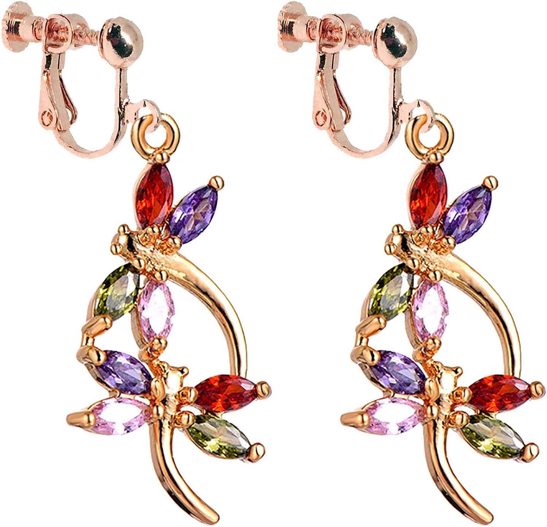 Spring colours Purple crystal clip ons non pierced ears earrings Long Clip on earrings statement earrings