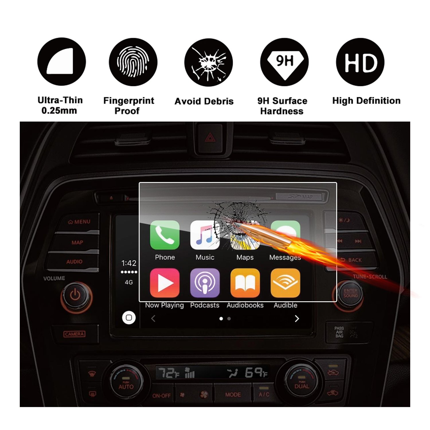 7-Inch Navigation Screen Protector Nissan Altima// Rouge// Rouge Sport RUIYA 2016 2017 Nissan Altima 2014-2017 Nissan Rogue 2017 Rouge Sport Car Navigation Protective Film,Clear Tempered Glass HD and Protect your Eyes