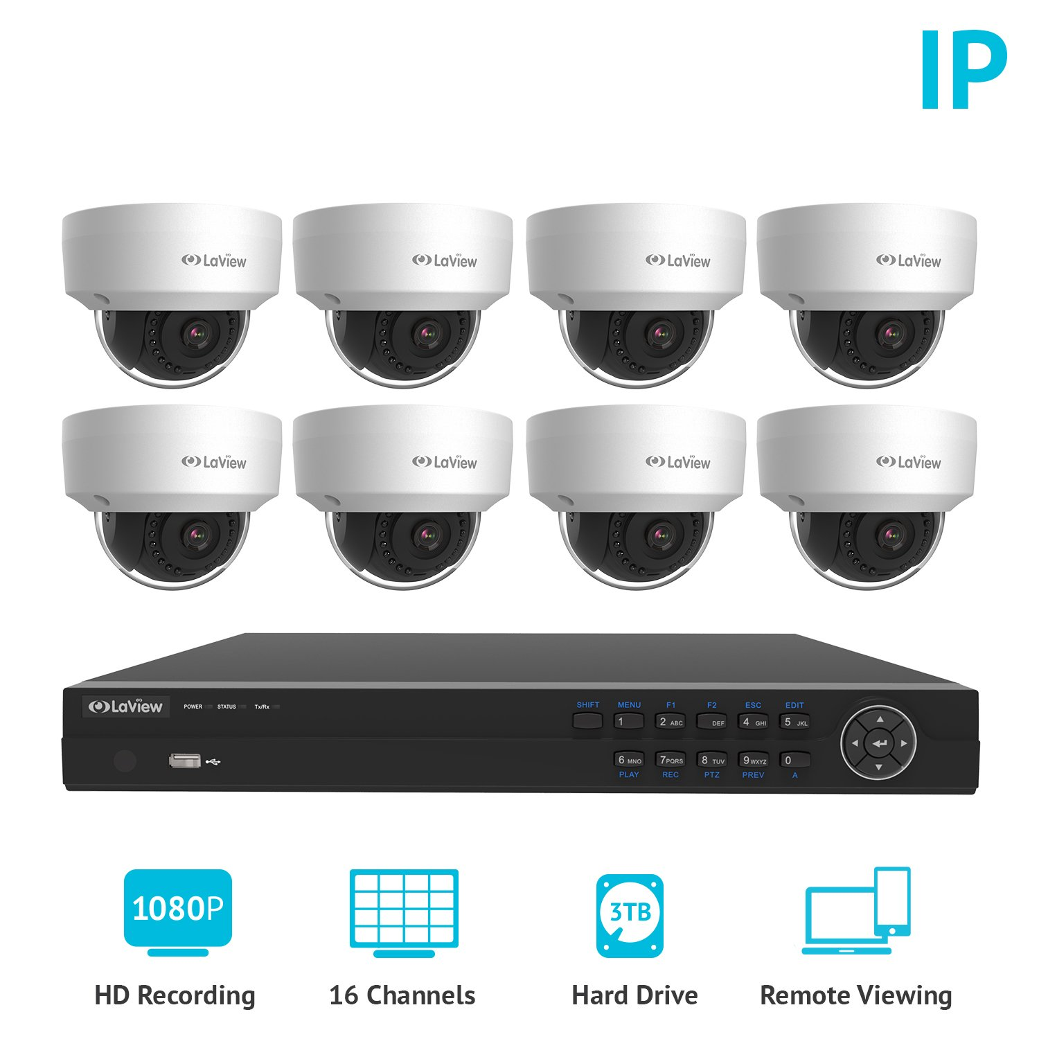 LaView 1080P 2MP HD IP 8 Weatherproof Dome Camera Security System 16 Channel PoE 1080P NVR with a 3TB HDD Indoor/Outdoor Cameras Day/Night Surveillance System with Remote Viewing by LaView