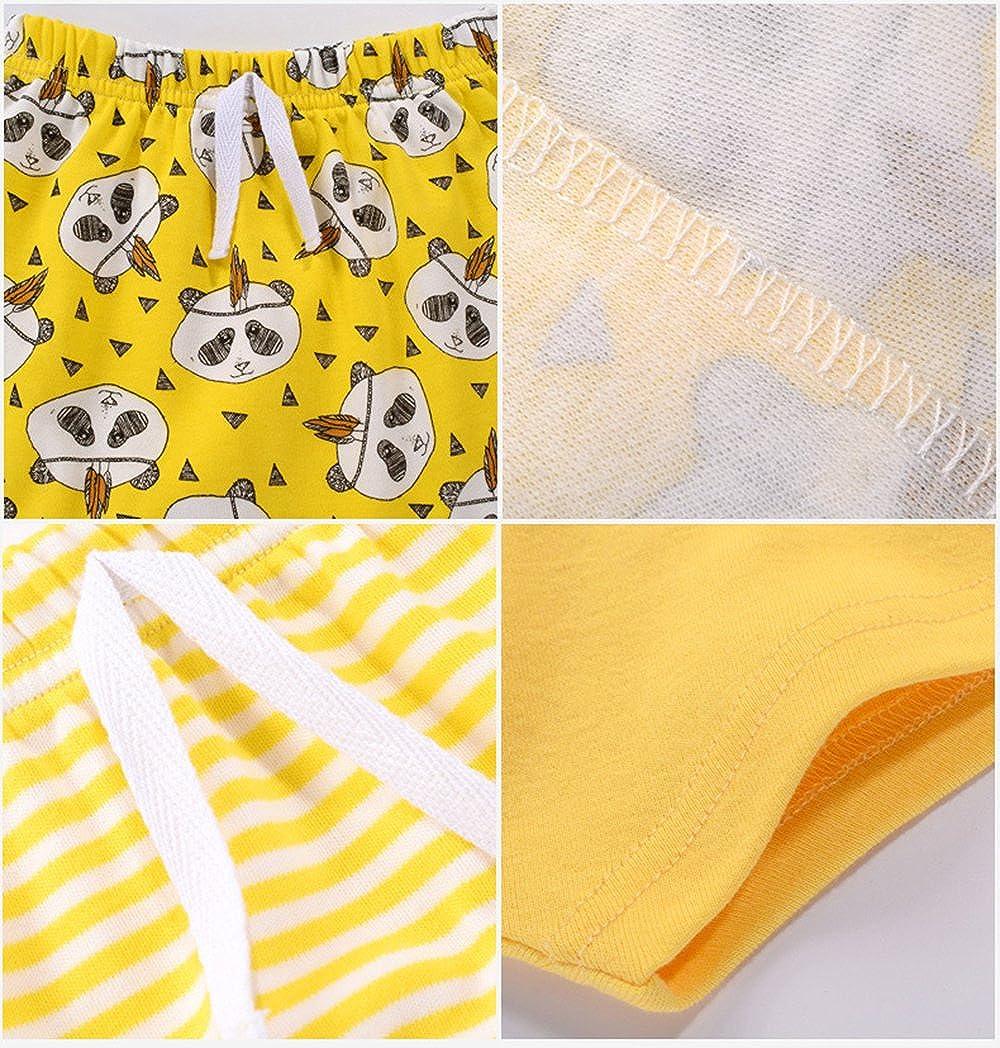 Yellow 2T GLMTOU Baby Boys Girls Cotton Shorts 3-Pack Summer Pants Set