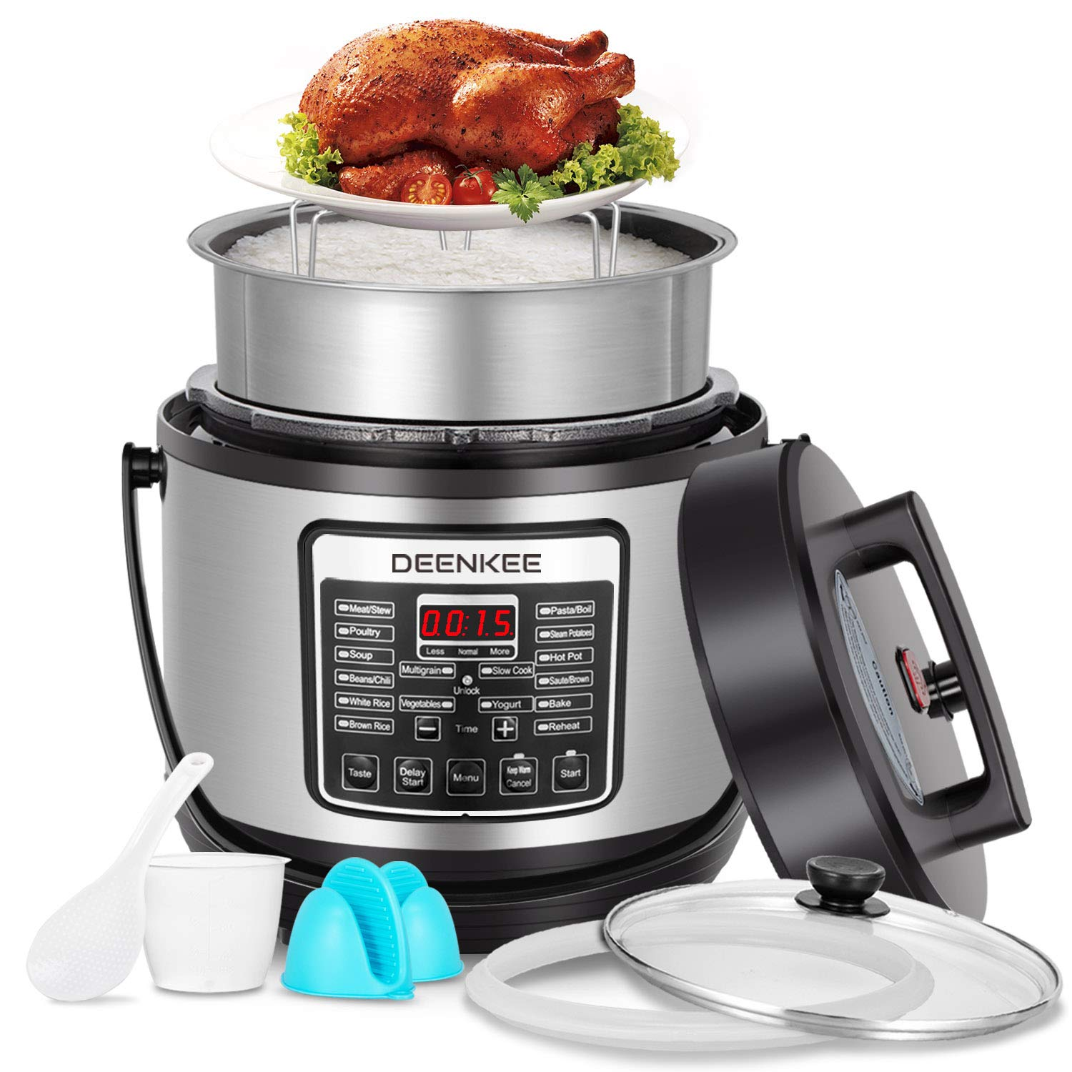 DEENKEE 10-in-1 Multi-Function Pressure Cooker 6 Quart, Instant Programmable for Rice Cooker, Steamer, Egg Cooker, Slow Cooker, Yogurt Maker, Hot Pot, Mom Christmas Gifts in 2-Year Warranty by Deenkee