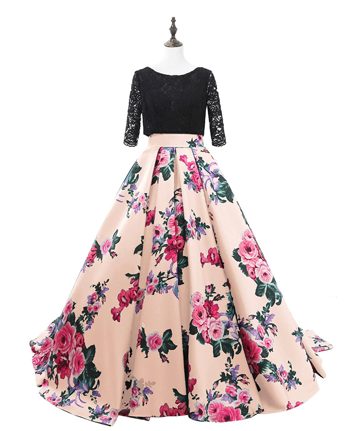 Champagne Lily Wedding Womens 3 4 Sleeve Floral Prom Dress 2019 Long Aline Lace Satin Evening Formal Ball Gown