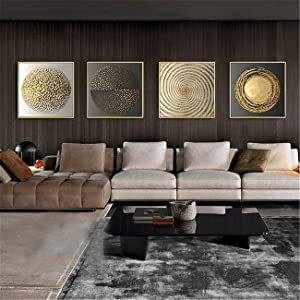 JESC Abstract Canvas Painting Gold Black White Modern Square Texture Poster and Prints Home Decor Wall Art Pictures for Living Room Framed 40x40cmx4pcs