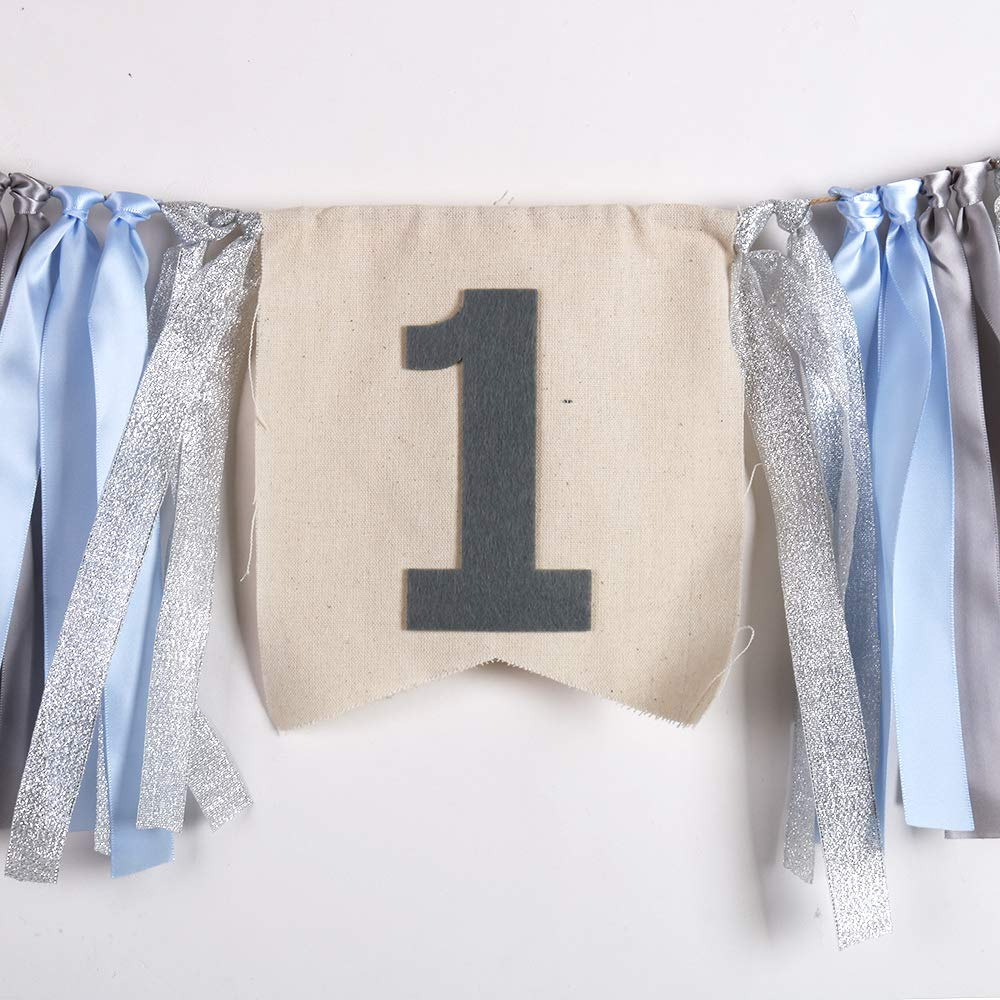 First Baby Birthday Decorations Burlap Highchair Banner QIYNAO Handmade Blue and Silver One Banner