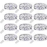 Ehome Fairy String Lights, 12 Pack Fairy Lights Battery Operated, 7.2ft 20LED Christmas Lights Silver Coated Copper Wire Lights Firefly Lights Moon Lights for Party Christmas Decorations - White