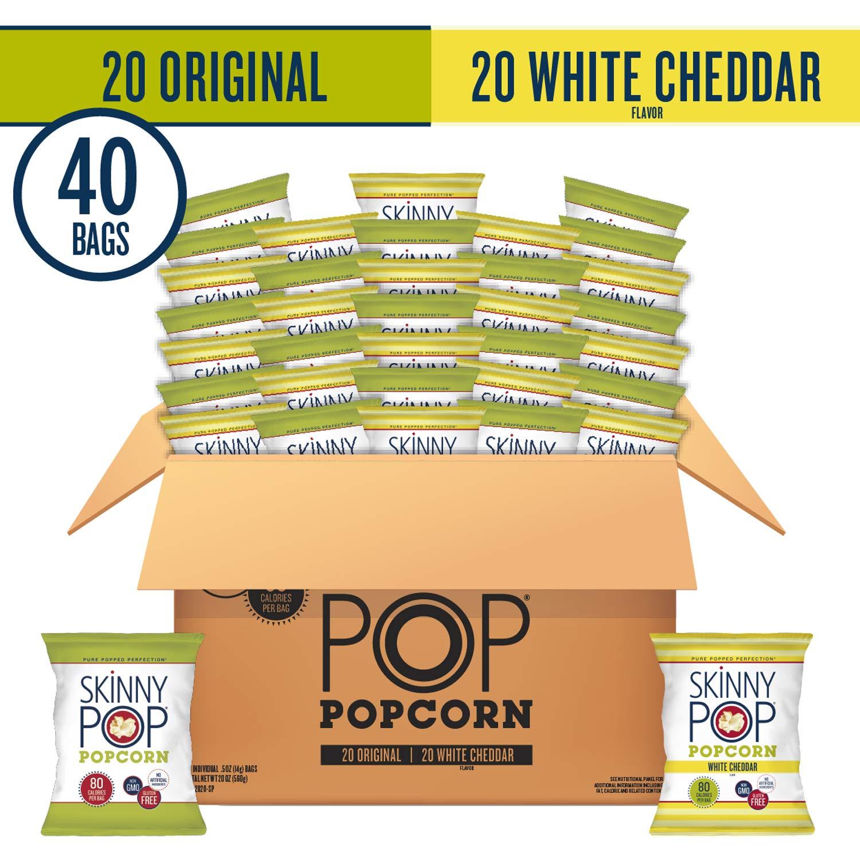 SkinnyPop Popped Popcorn Variety (Original & White Cheddar), Individual Bags, Healthy Snacks, 0.5oz (Pack of 40)