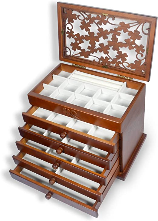 Regalo para Ni/ñas Collar Pulseras Pendientes Caja Joyero Peque/ña Caja de Exhibici/ón de Joyer/ía de Viaje de Cuero PU con Espejo para Anillos