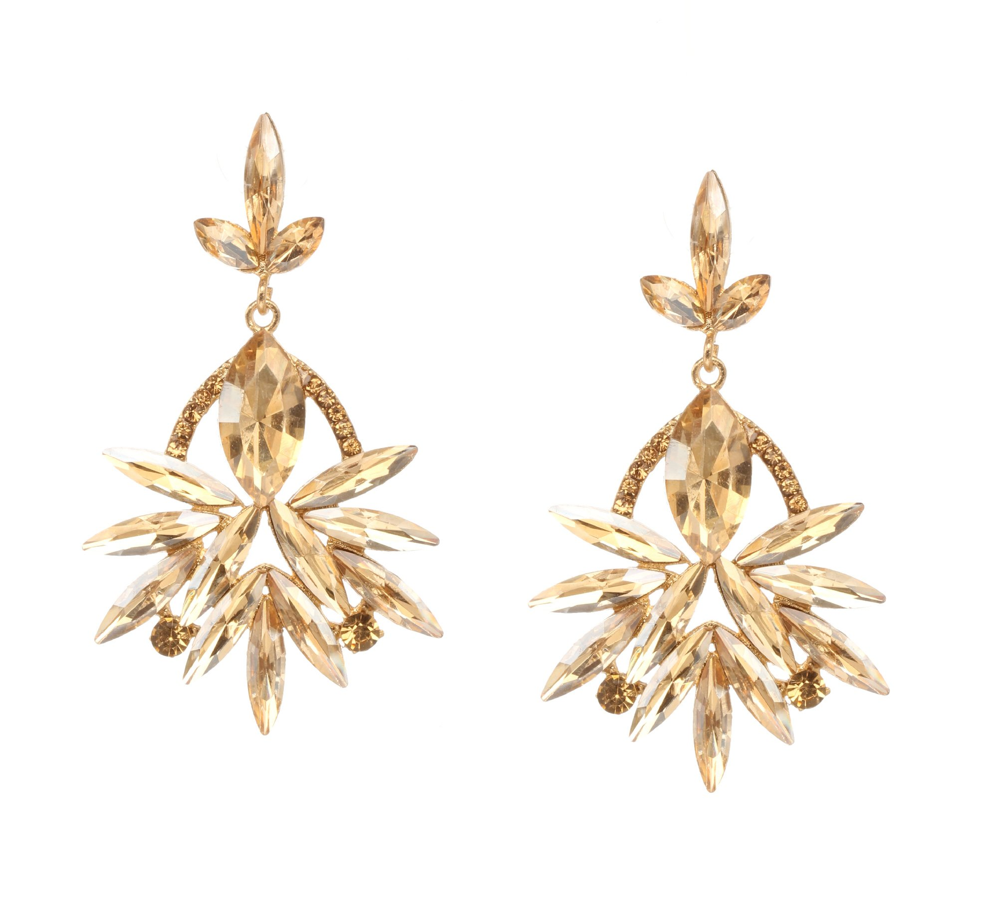 Bindhani Champagne Austrian Cystral Rhinestone Cluster Chandelier Bridal Wedding Earrings For Women