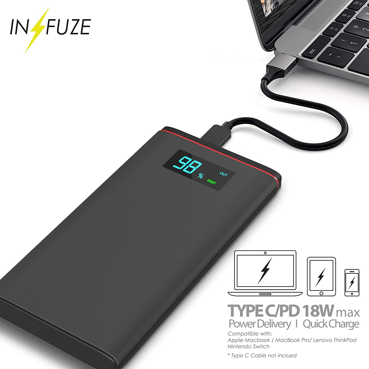 CustomCustom Personalized Universal Power Bank//Led Indicator PD Power Delivery 12000 mAh External Battery Aluminum Frame//Compatible with iPhone and Galaxy Phones