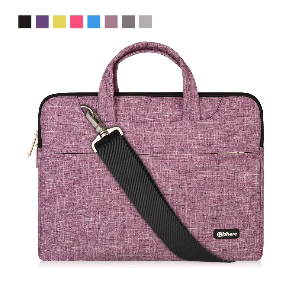 Qishare 15 15.6 16 inch Laptop Case Laptop Shoulder Bag, Multi-Functional Notebook Sleeve Carrying Case with Strap for Lenovo Acer Asus Dell Lenovo Hp Samsung Ultrabook Chromebook 15(Purple Lines) by Qishare