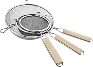 "U.S. Kitchen Supply - Set of 3 Premium Quality-Double Mesh Extra Fine Stainless Steel Strainers with Comfortable Wooden Handles, 4"", 5.5"" and 8"" Sizes"