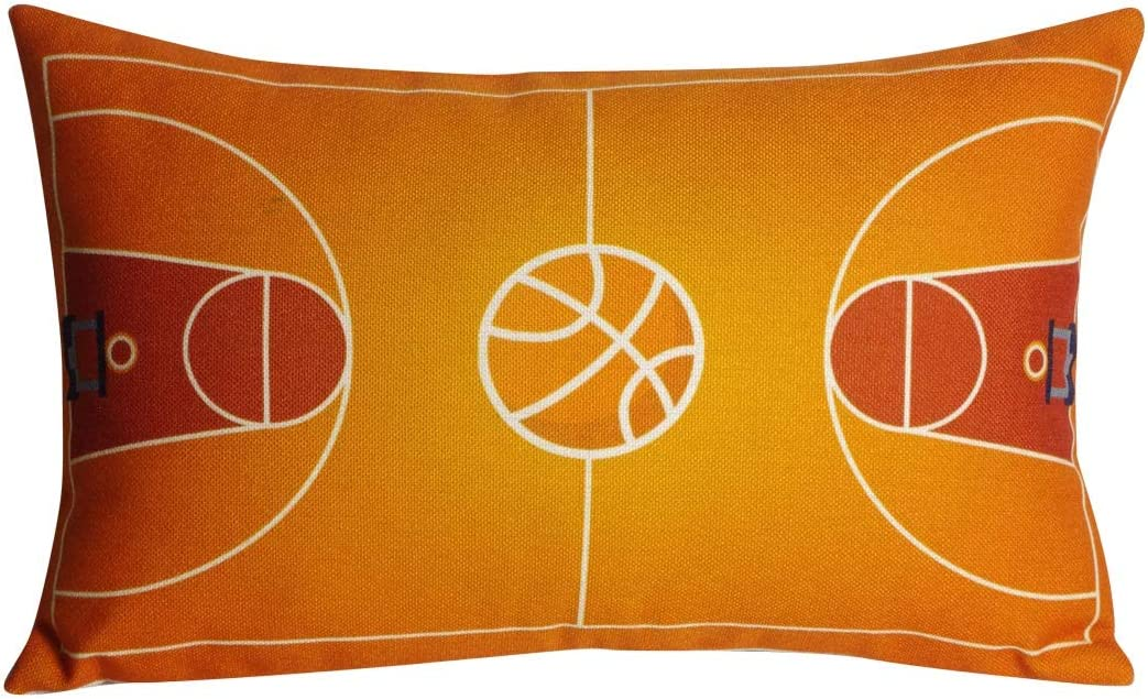 DECOPOW Cover only, Basketball Court Throw Pillow Cover,Basketball Decor Cotton Linen Throw Pillow Case 12X20 Inches Cover