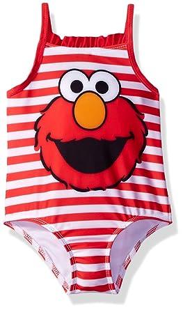 c0d3972b6c Amazon.com: Sesame Street Little Girls' Elmo Infant Swimsuit, Red ...
